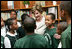 Mrs. Laura Bush meets with students during her visit to Our Lady of Perpetual Help School in Washington, Monday, June 5, 2006, where she announced a Laura Bush Foundation for America's Libraries grant to the school.