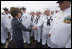 Mrs. Laura Bush shakes hands with sailors of the USS Texas Saturday, September 9, 2006, prior to touring the ship and participating in a Commissioning Ceremony in Galveston, Texas. White House photo by Shealah Craighead