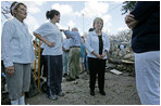 Mrs. Cheney talks with survivingresidents of one Gulfport, Mississippi neighborhoodduring a walking tour of the Hurricane Katrinadamaged areasThursday, September 8, 2005.