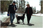 Dave and Jackson enjoy a walk with the Vice President and Mrs. Cheney in Jackson Hole, Wyoming.