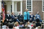 """Lynne Cheney hosts Constitution Day 2004 """"Telling America's Story,"""" with 200 third grade students from Fairfax County Public Schools at Gunston Hall Plantation, the historic home of George Mason, in Mason Neck, Va., Friday, Sept. 17, 2004. This year's Constitution Day highlights Founding Father George Mason, who did not sign the U.S. Constitution 217 years ago because it lacked a bill of rights."""