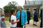 Lynne Cheney greets third grade students from Fairfax County Public Schools at Gunston Hall Plantation, the historic home of Founding Father George Mason, Friday, Sept. 17, 2004.