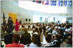 Lynne Cheney addresses Philadelphia area school children in the Grand Hall Lobby before a tour of the National Constitution Center in celebration of Constitution Day in Philadelphia Wednesday, Sept. 17, 2003.