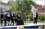 Lynne Cheney enjoys a laugh with American Founding Fathers and historical figure Harriet Tubman during a Constitution Day 2005 celebration at George Washington's Mount Vernon Estate Friday, September 16, 2005. The event, which celebrates the anniversary of the signing of the U.S. Constitution 218 years ago, was offered to a group of fourth graders from local Fairfax County public schools.