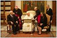 Vice President Dick Cheney and his wife, Lynne, meet His Holiness Pope John Paul II in the Vatican in Rome Jan. 27, 2004. The visit was part of a five-day trip through Switzerland and Italy for consultations with European allies on national security and economic matters