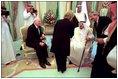 Vice President Dick Cheney and Lynne Cheney greet King Fahd of Saudi Arabia in Jeddah, Saudi Arabia, March 16.
