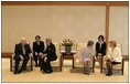 During a meeting at the Imperial Palace, Vice President Cheney and Mrs. Cheney talk with Japanese Emperor Akihito and Empress Michiko in Tokyo April 13, 2004.