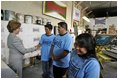 Laura Bush meets members of the Homeboy Industries program in Los Angeles during her tour of the facility April 27, 2005.