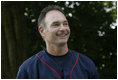 Minnesota Twins baseball star Paul Molitor is introduced to the crowd Sunday, July 24, 2005, at a Tee Ball game on the South Lawn of the White House, where he participated as first base coach.