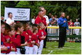 President George W. Bush and Mrs. Bush hosts Tee Ball on the South Lawn with The Fort Belvoir Little League Braves of Fort Belvoir, Virginia and the Naval Base Little League Yankees of Norfolk, Virginia, June 23, 2003.