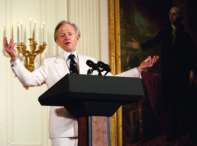 Author Tom Wolfe participates in the White House Salute to American Authors hosted by Laura Bush in the East Room Monday, March 22, 2004.