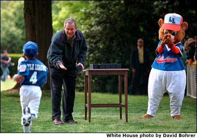 President George W. Bush has invited tee-ball teams to play ball on the South Lawn of the White House. White House photo by David Bohrer.