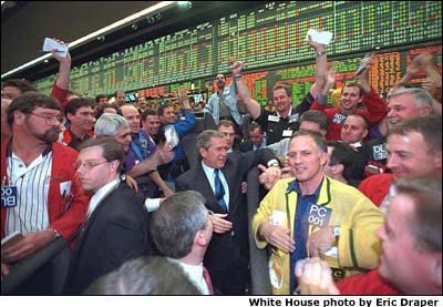 President Bush shakes hands with workers at the Chicago Mercantile Exchange. White House photo by Eric Draper.