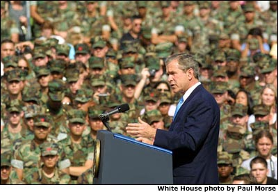 President George W. Bush speaks to marines at Camp Pendelton, California about energy conservation. White House photo by Paul Morse.
