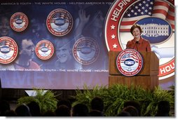 "Mrs. Laura Bush speaks during a conference on Helping America's Youth Thursday, Nov. 8, 2007, at Dallas Baptist University in Dallas. ""To make sure every child is surrounded by these positive influences, even more adults must dedicate themselves to helping young people,"" said Mrs. Bush. ""Adults should be aware of the challenges facing children, and then they should take an active interest in children's lives. Adults, and especially parents, should build relationships where they teach their children healthy behaviors by their own good example."" White House photo by Shealah Craighead"