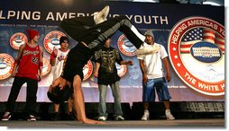 """After Mrs. Laura Bush addressed the conference, members of the YA Crew perform a dance routine Thursday, Nov. 8, 2007, at Dallas Baptist University in Dallas. """"The work that you do in your neighborhoods -- helping young people build the knowledge and the self-respect they need to build successful lives -- is at the heart of Helping America's Youth,"""" said Mrs. Bush in her remarks. White House photo by Shealah Craighead"""