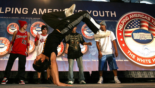 "After Mrs. Laura Bush addressed the conference, members of the YA Crew perform a dance routine Thursday, Nov. 8, 2007, at Dallas Baptist University in Dallas. ""The work that you do in your neighborhoods -- helping young people build the knowledge and the self-respect they need to build successful lives -- is at the heart of Helping America's Youth,"" said Mrs. Bush in her remarks. White House photo by Shealah Craighead"