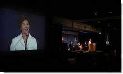 Mrs. Laura Bush speaks at the White House Office of Faith-Based and Community Initiatives Gulf Coast Summit Friday, May 30, 2008, in New Orleans.  White House photo by Shealah Craighead