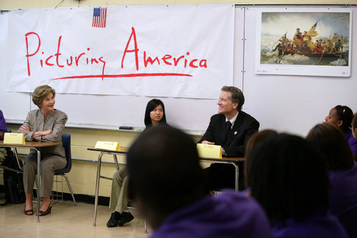 Mrs. Laura Bush participates in a classroom discussion Thursday, Aug. 14, 2008, at the Edna Karr High School in New Orleans, where the National Endowment for the Humanities' Picturing America program is discussed. The Picturing America program is a collection of American art offered to schools and public libraries to help educators teach American history and culture through art. White House photo by Shealah Craighead