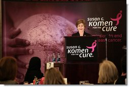 Mrs. Laura Bush delivers remarks at the Susan G. Komen for the Cure Global Initiative Luncheon Wednesday, March 12, 2008, at the U.S. Capitol in Washington, D.C. Mrs. Bush also talked about her upcoming trip to Mexico City where she will announce the U.S.-Mexico Partnership for Breast Cancer Awareness and Research. White House photo by Shealah Craighead