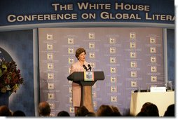 Mrs. Laura Bush delivers opening remarks Monday, Sept. 18, 2006, during the White House Conference on Global Literacy, held at the New York Public Library. The program underscores the need for sustained global and country level leadership in promoting literacy.  White House photo by Shealah Craighead