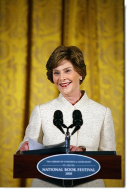 Mrs. Laura Bush delivers remarks during the National Book Festival Breakfast Saturday, Sept. 27, 2008, in the East Room of the White House. White House photo by Joyce N. Boghosian