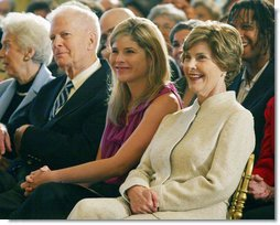 Mrs. Laura Bush and daughter Jenna Hager listen to author Jan Brett during the National Book Festival Breakfast Saturday, Sept. 27, 2008, in the East Room of the White House. White House photo by Joyce N. Boghosian