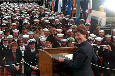 Laura Bush addresses members of the military in San Diego, Calif., March 23, 2001, about Troops to Teachers, a program that encourages retired military personnel to become teachers. White House photo by Susan Sterner.