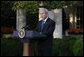 """President George W. Bush delivers a statement on the economy Tuesday, Oct. 14, 2008, from the Rose Garden of the White House. In announcing new measures America is taking to implement the G7 action plan and strengthen banks across the country, the President said, """"It will take time for our efforts to have their full impact, but the American people can have confidence about our long-term economic future. We have a strategy that is broad, that is flexible, and that is aimed at the root cause of our problem. Nations around the world are working together to overcome this challenge. And with confidence and determination, we will return our economies to the path of growth and prosperity.""""  White House photo by Eric Draper"""