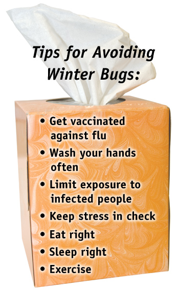 box of tissues with this text on it: Tips for Avoiding Winter Bugs: Get vaccinated against flu, Wash your hands often, Try to limit exposure to infected people, Keep Stress in Check, Eat right, Sleep right, Exercise