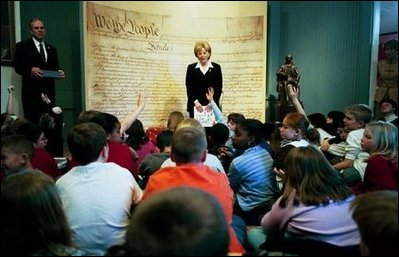 Mrs. Cheney takes questions during her talk with students at the Education Center at James Madison's Montpelier in Montpelier Station, VA on Thursday, March 11, 2004. Mrs. Cheney shared her passion for learning and teaching America's history with students from Orange and Gordon-Barbour Elementary Schools.