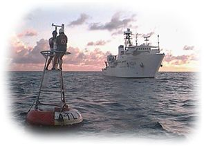 The TAO support vessel and TAO buoy