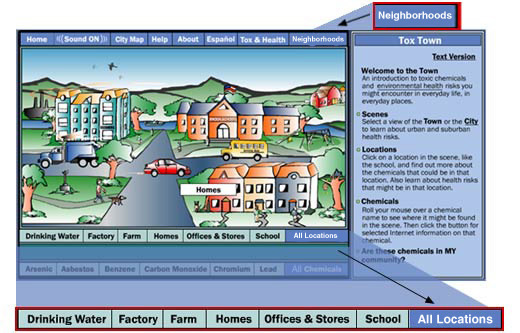 Tox Town graphic showing close up of locations menu bar.