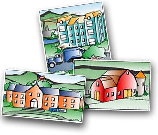 Tox Town Collage of school, office building and barn - 320X273 pixels - 22 KB