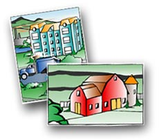 Tox Town Collage of office building and barn - 230X200 pixels - 11.3 KB