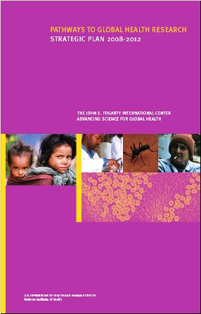 cover of Fogarty's strategic plan with photos of people and cells under a microscope on a purple background.