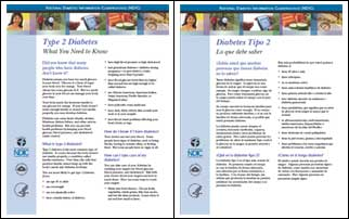 Covers of type 2 diabetes brochures in English and Spanish