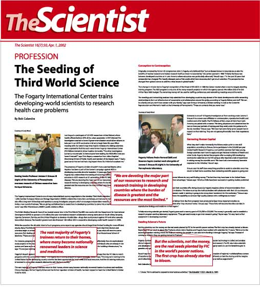 Image of article THE SEEDING OF THIRD WORLD SCIENCE published in THE SCIENTIST MAGAZINE, April 2002