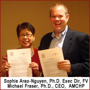 Family Voices' Sophie Arao-Nguyen and AMCHP's Michael Fraser sign MOU