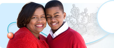 This main image depicts a woman and her son in red sweaters on the left and a mother and daughter smiling together on the right.