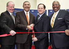 From left to right: Dennis Johnson (director of the U.S. Census Bureau's Kansas City Regional Office), U.S. Rep. William Lacy Clay (D-Mo.), St. Louis Mayor Francis Slay and  Arnold Jackson (Census Bureau's associate director for the decennial census). Click here for larger image.