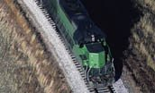 aerial view of train on tracks