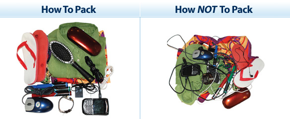 Photo of an organized carry-on bag versus an organized carry-on bag.