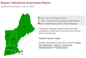 screen shot of Region I situational awareness page