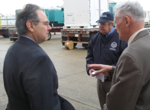 Regional Adminstrator Art Cleaves and New Hampshire Congressman Paul Hodes Survey Generators delivered to the Logistics Staging Site in Portsmouth