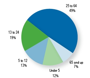 Pie chart showing percentages of health center patients in five age groups in 2007.