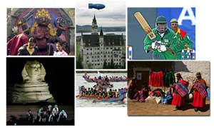 Clockwise from upper left: children in Nepal; castle, Neuschwanstein, Germany; cricket in Nairobi, Kenya; women in Bolivia; dragon boat races, Taiwan; Giza, Egypt. AP photos