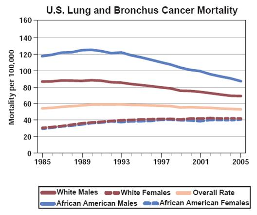 U.S. Lung and Bronchus Cancer mortality Graph Chart 1985-2005