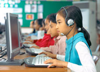 Child working at a computer