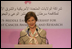 """Mrs. Laura Bush speaks during the launch of the program, """"Making it Our Business: Breast Cancer Awareness,"""" at the Dubai Chamber of Commerce and Industry Monday, Oct. 22, 2007, in Dubai, United Arab Emirates."""